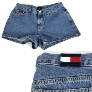 Vtg Tommy Jeans Blue High Rise Short Shorts Sz 11